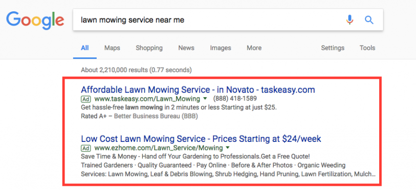 Google Ads show at the top of the Search Engine Result Page (SERP)