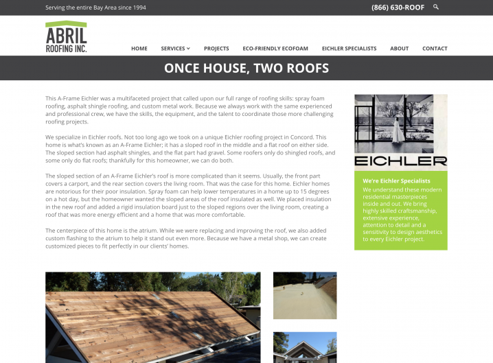 Abril Roofing Projects page