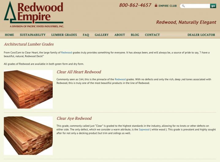 Redwood Empire - Lumber Grades
