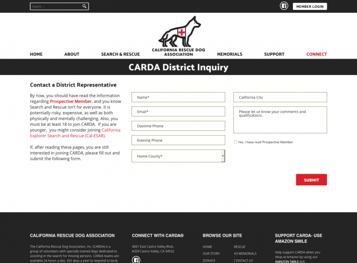 CARDA Contact page