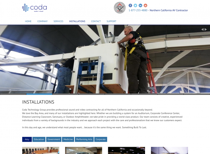 Coda Technology Installations page