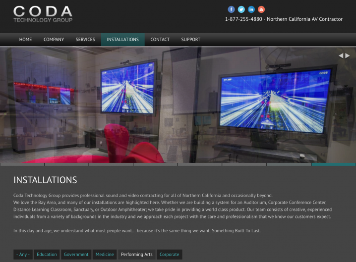 Installations page