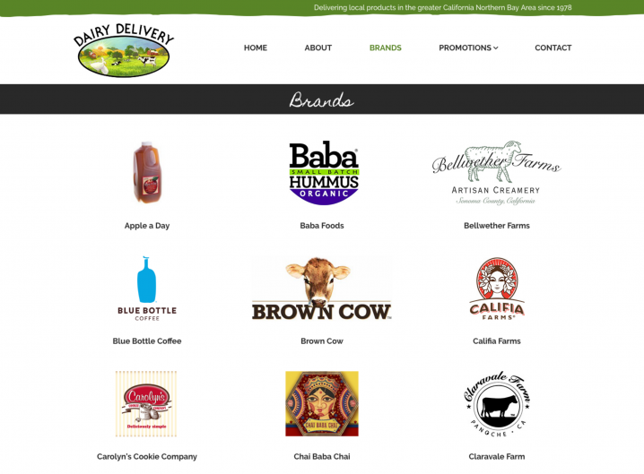 Dairy Delivery Product page