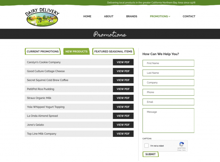 Dairy Delivery Specials page
