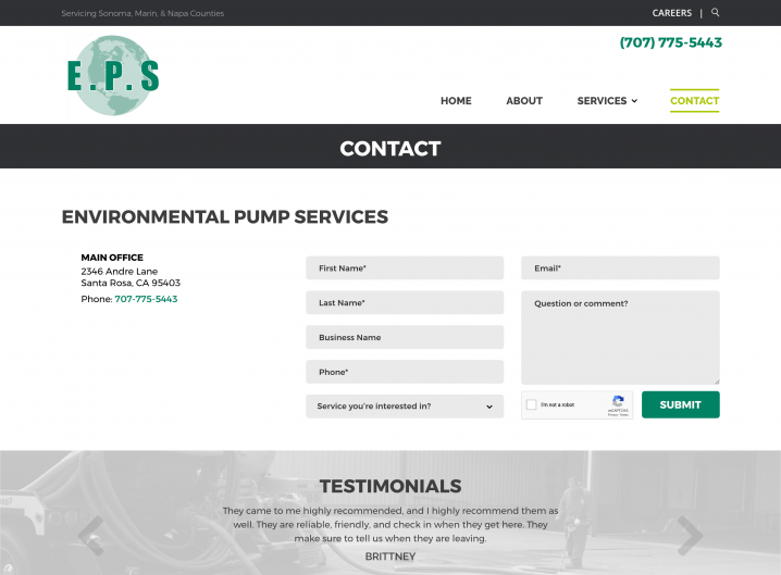 Environmental Pump Services contact page