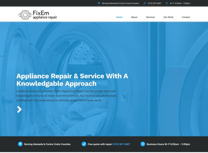 FixEm Appliance Repair homepage