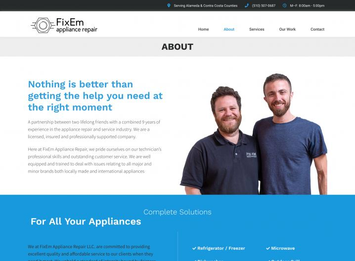FixEm Appliance Repair about page