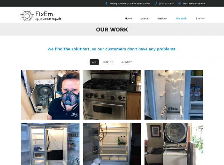 FixEm Appliance Repair gallery page