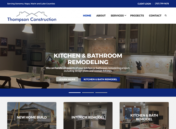 Thompson Construction homepage