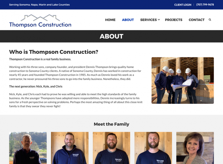 Thompson Construction about page