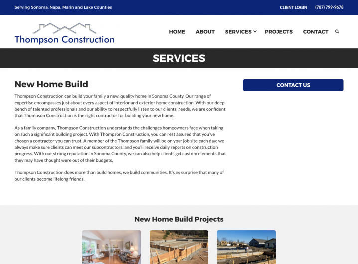 Thompson Construction service detail page