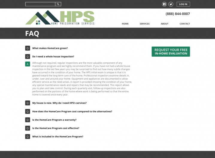 Home Preservation Services FAQ page