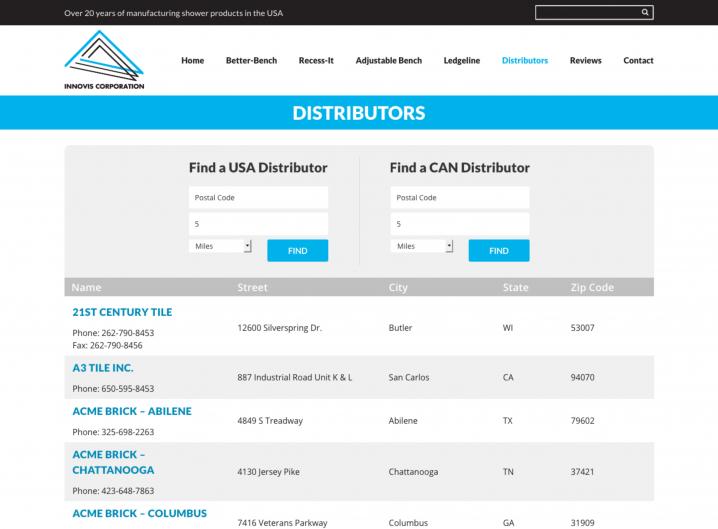 Innovis Corp Distributor page
