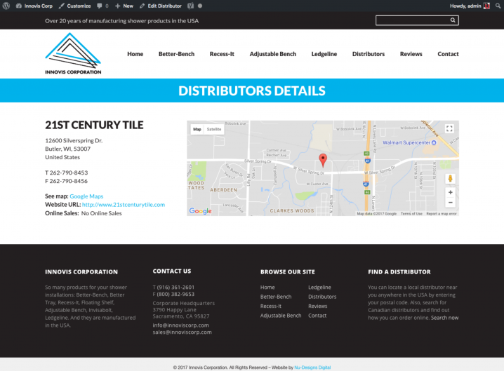 Innovis Corp Distributor detail page