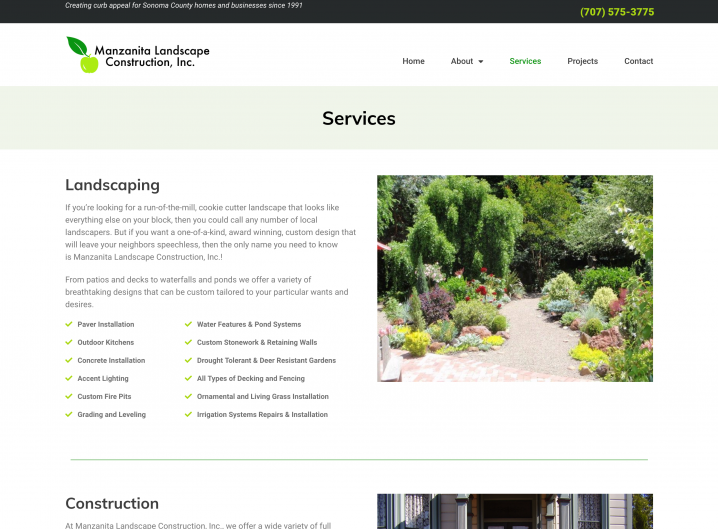 Manzanita Landscape Construction Services