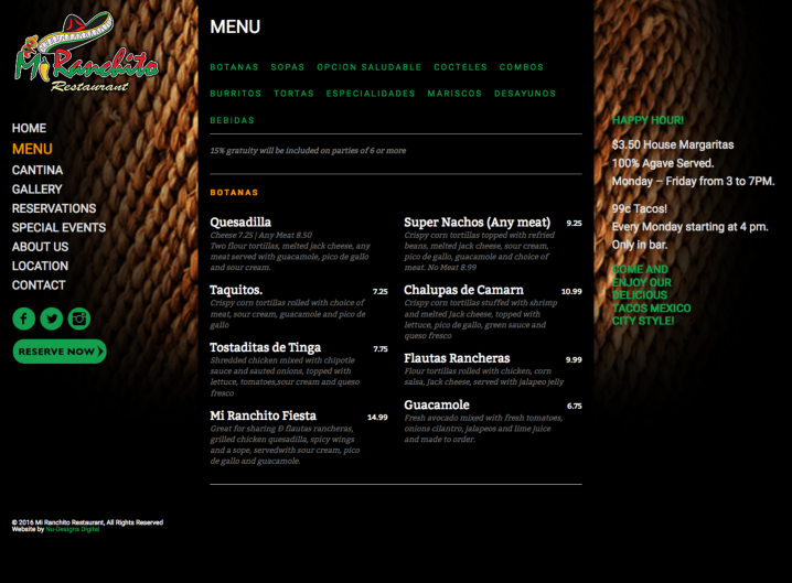 Mi Ranchito Restaurant Menu page