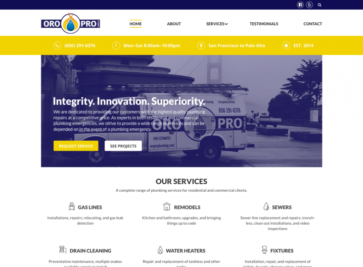 Oro Pro Plumbing Home page