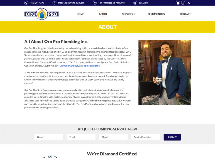Oro Pro Plumbing About page