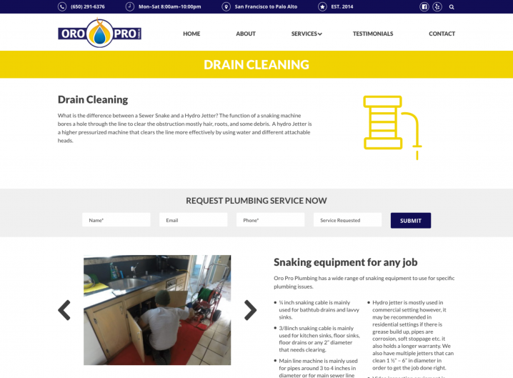Oro Pro Plumbing Service detail page