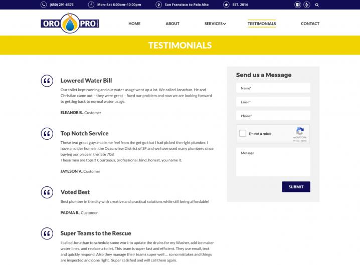 Oro Pro Plumbing Testimonial page