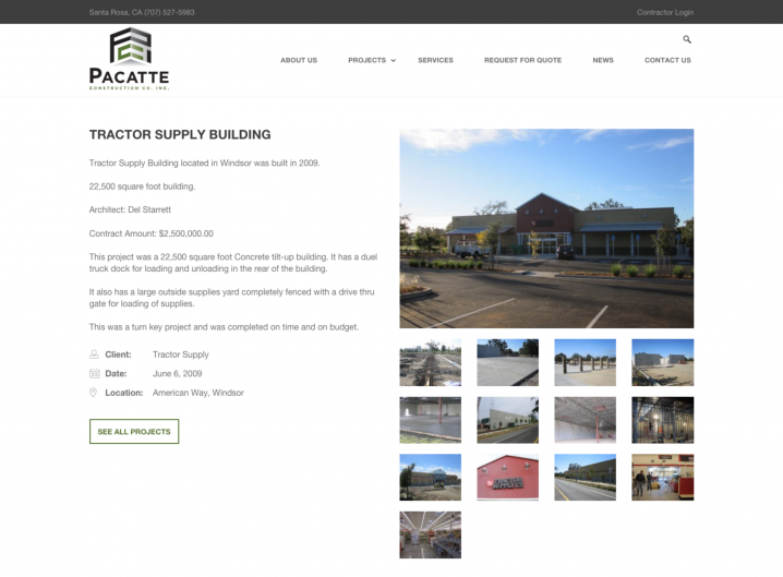 Pacatte Construction Project Detail page