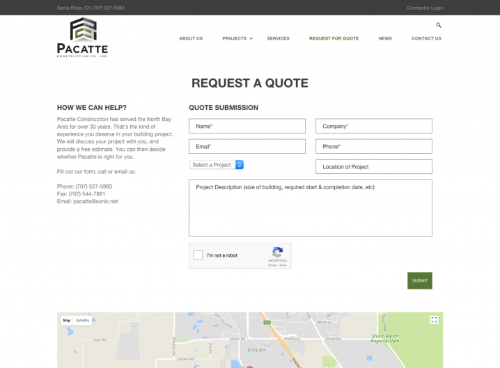 Pacatte Construction Request for Quote page