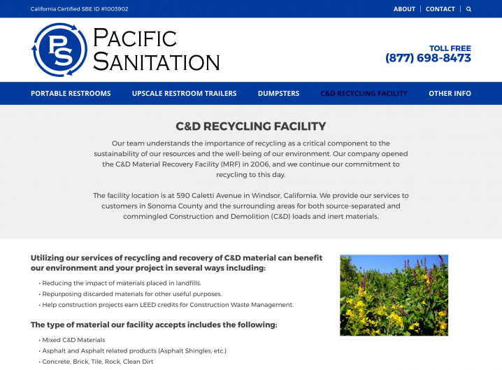 Pacific Sanitation service page