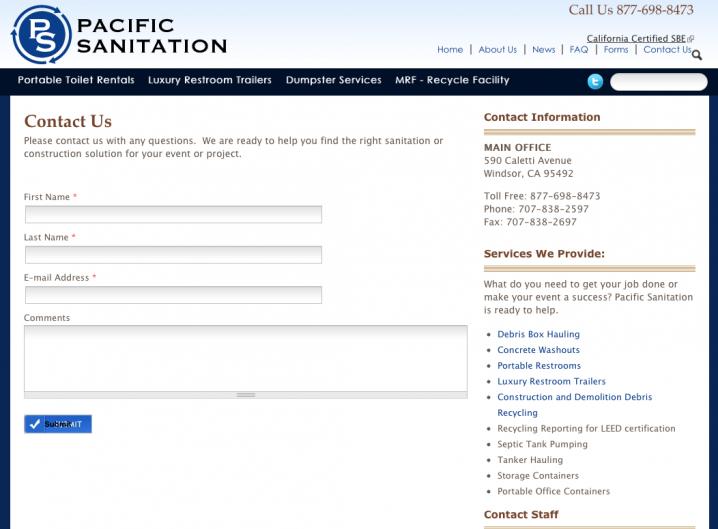 Pacific Sanitation - Contact