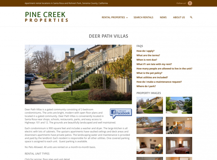 Pine Creek Rentals Apartment page