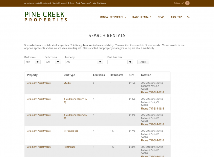 Pine Creek Rentals Search page