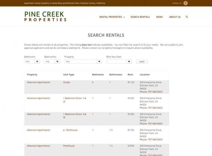 Pine Creek Rentals Search page