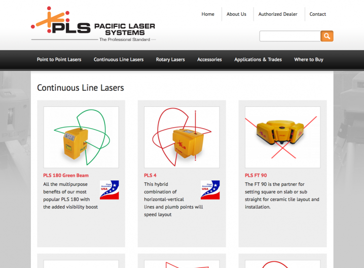 Pacifici Laser Systems - product page overview