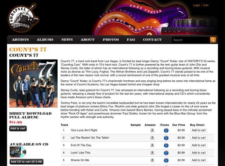 Shrapnel Records album detail page