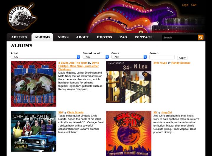 Shrapnel Records album page