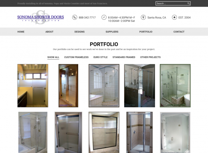 Sonoma Shower Doors Portfolio page