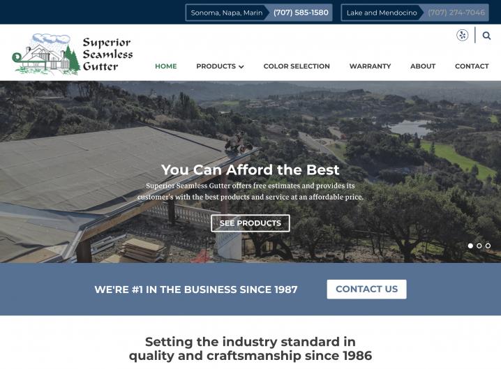 Superior Seamless website: Homepage