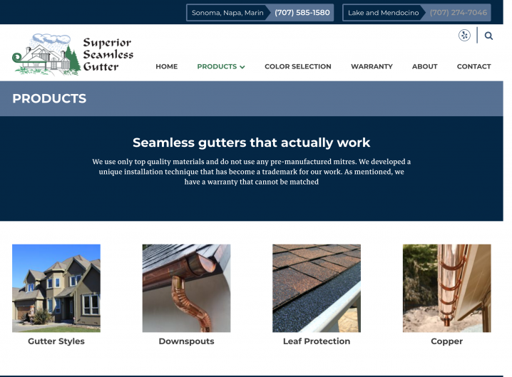 Superior Seamless website: Product overview