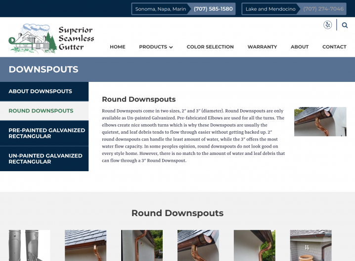 Superior Seamless website: Product detail