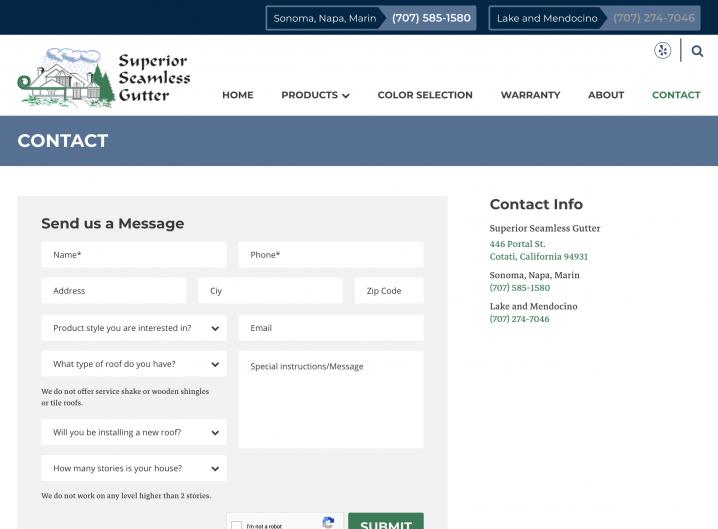 Superior Seamless website: Contact