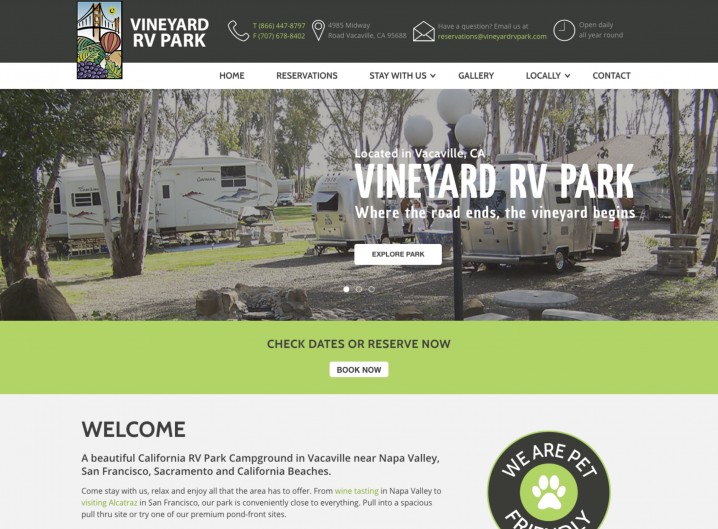 Vineyard RV Park Home page