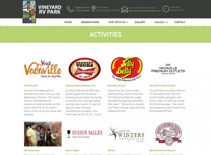 Vineyard RV Park Activities page