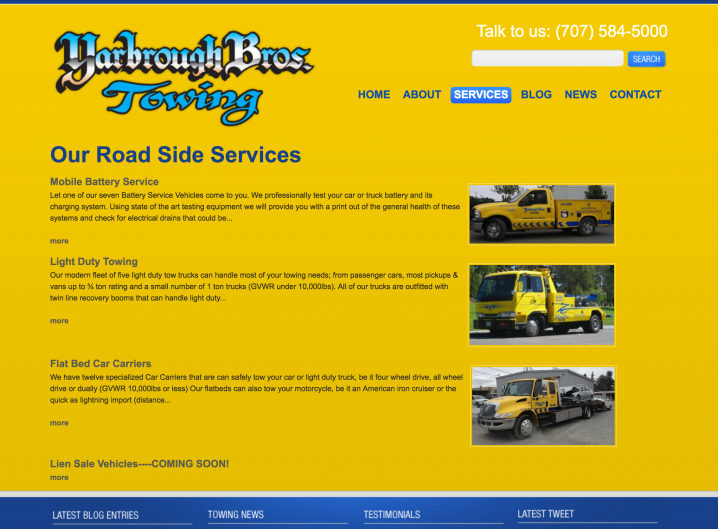 Yarbrough Tow services page