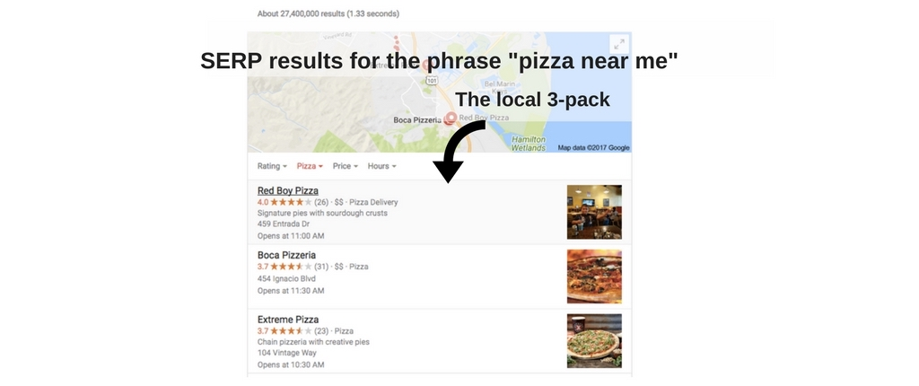 Local SEO search example: Pizza near me